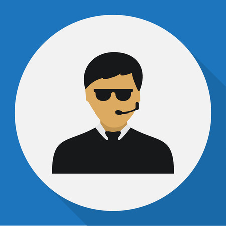 Vector Illustration Of Security Symbol On Security Guy Flat Icon Illustration