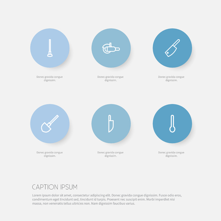 exchanger: Set Of 6 Editable Tools Outline Icons. Includes Symbols Such As Tablespoon, Butcher Knife, Grinder And More