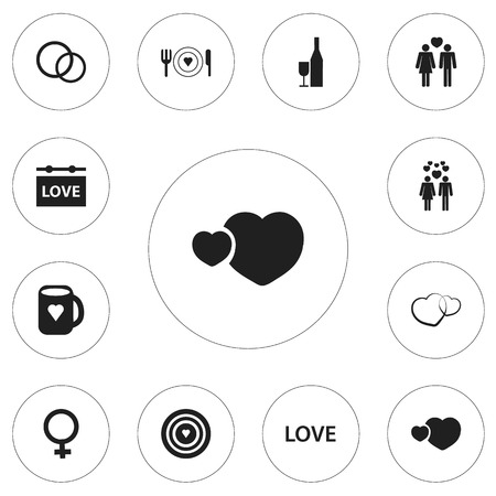 Set Of 12 Editable Passion Icons. Includes Symbols Such As Jewelry, Darling, Romance And More
