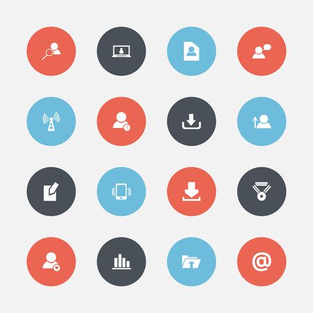 Set Of 16 Editable Network Icons. Includes Symbols Such As Avatar, Thinking Man, Mail Symbol And More
