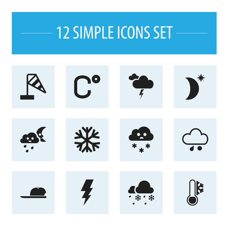 medical headwear: Set Of 12 Editable Climate Icons. Includes Symbols Such As Night Sky, Drizzle, Hat And More