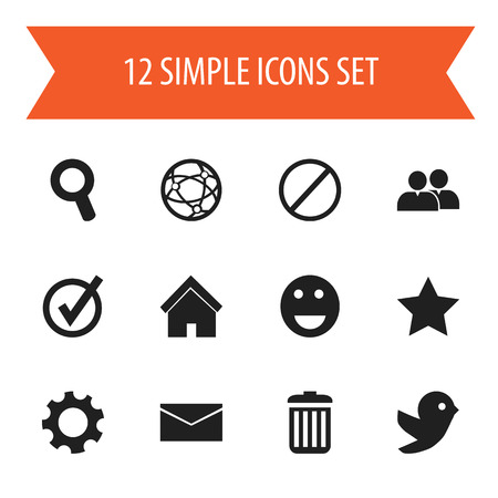 Set Of 12 Editable Internet Icons. Includes Symbols Such As Deny, Mail, Group And More Illustration