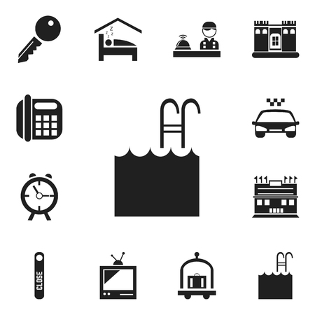 plaza: Set Of 12 Editable Hotel Icons. Includes Symbols Such As Unblock Access, Pool, Door Closed And More Illustration