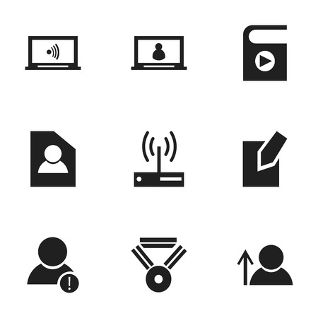Set Of 9 Editable Internet Icons. Includes Symbols Such As Edit File, Modem, Avatar And More