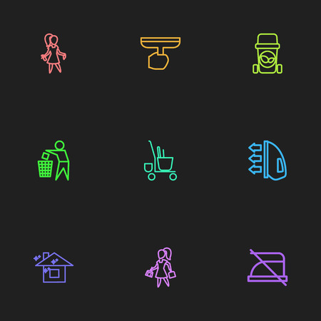 Set Of 9 Editable Cleanup Outline Icons. Includes Symbols Such As Do Not Iron, Brooming, Trash Bin And More