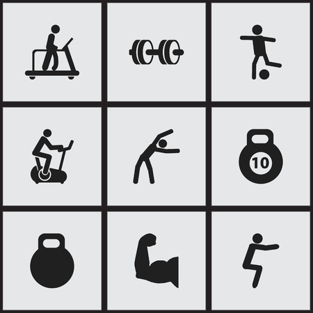 Set Of 9 Editable Healthy Icons. Includes Symbols Such As Weightiness, Exercise, Training Bicycle And More Illustration