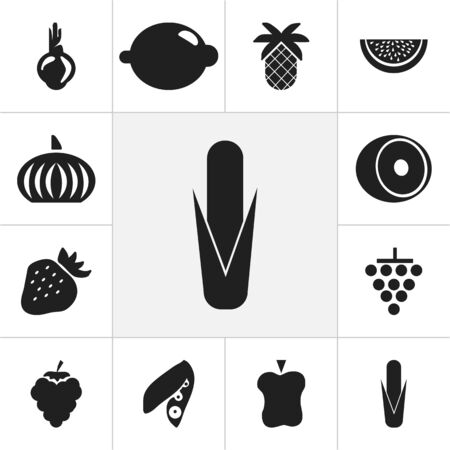Set Of 12 Editable Dessert Icons. Includes Symbols Such As Strawberry, Maize, Sativum And More