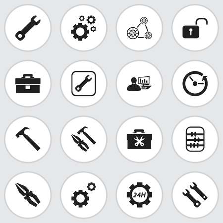 rackwheel: Set Of 16 Editable Mechanic Icons. Includes Symbols Such As Mechanic Cogs, Support Center, Time And More Illustration