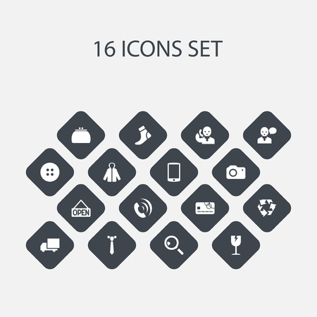 breakable: Set Of 16 Editable Shopping Icons. Includes Symbols Such As Telephone, Hosiery, Sheath And More