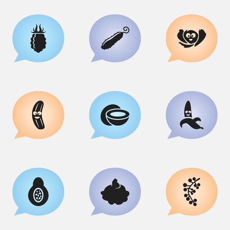 intake: Set Of 9 Editable Cooking Icons. Includes Symbols Such As Papaya, Raspberry, Jungle Fruit And More
