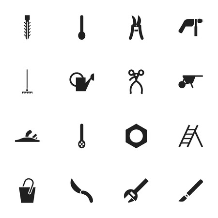 secateurs: Set Of 16 Editable Tools Icons. Includes Symbols Such As Pruning Shears, Handle , Screw