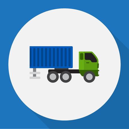 Vector Illustration Of Automobile Symbol On Shipping Flat Icon
