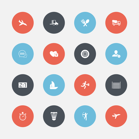 Set Of 16 Editable Complex Icons. Includes Symbols Such As Badminton Ball, Messaging, Businessman And More