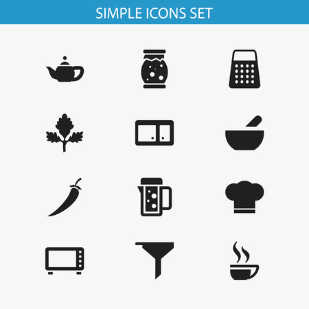 Set Of 12 Editable Meal Icons. Includes Symbols Such As Cook Cap, Coffee Cup, Soup And More