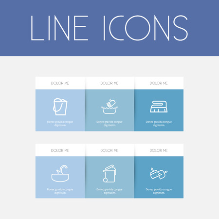 Ensemble de 6 icônes de nettoyage modifiable. Comprend des symboles tels que l'évier, le lavage des mains, les outils de balayage
