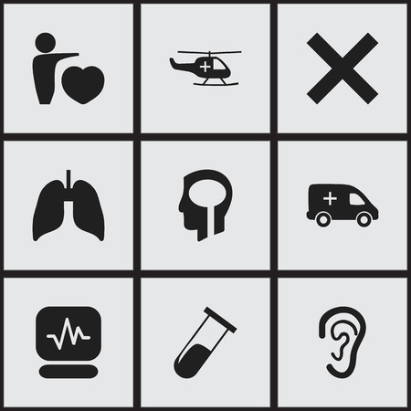 Set Of 9 Editable Care Icons. Includes Symbols Such As No Check, Medical Aviation, Listen And More