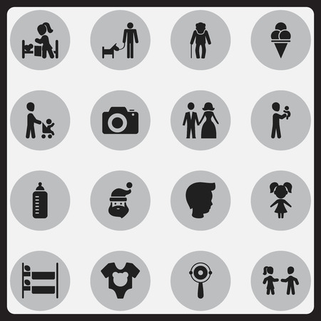 Set Of 16 Editable Folks Icons. Includes Symbols Such As Father With Dog, Cold Dessert, Girl And More