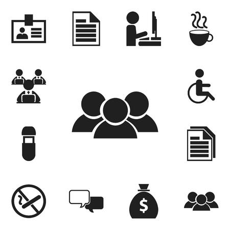 Set di 12 icone di Bureau modificabili. Include simboli come fumare vietato, Usb, fogli e altro ancora Vettoriali