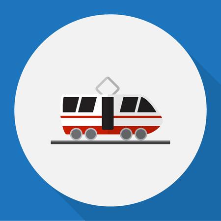 tramcar: Vector Illustration Of Car Symbol On Tram Flat Icon