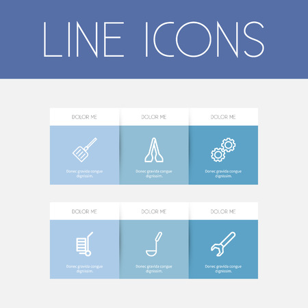 Set Of 6 Editable Equipment Outline Icons. Includes Symbols Such As Tongs, Soup Ladle, Cogwheel And More