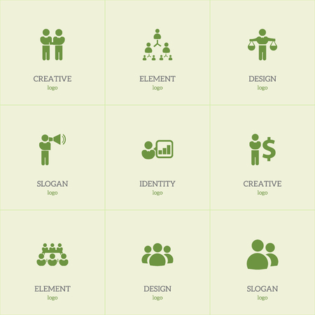 friend chart: Set Of 9 Editable Business Icons. Includes Symbols Such As Group, Hierarchy, Introducing And More
