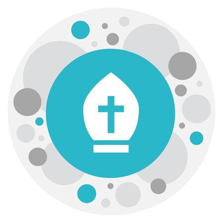 Vector Illustration Of Religion Symbol On Catholic Hat Icon Illustration