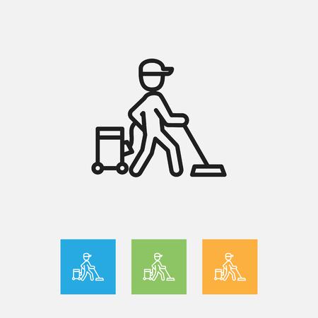 Vector Illustration Of Cleanup Symbol On Carpet Outline