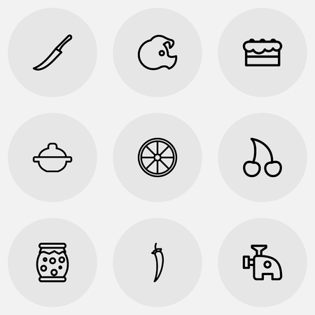 Set Of 9 Editable Cook Outline Icons. Includes Symbols Such As Cherries, Homemade Jelly, Fruit And More Illustration