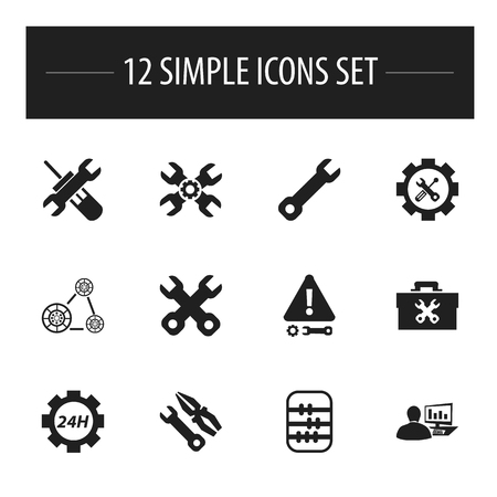 setup: Set Of 12 Editable Service Icons. Includes Symbols Such As Wrench, Cambelt, Technical Support And More Illustration