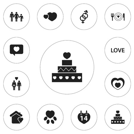 Set Of 12 Editable Love Icons. Includes Symbols Such As Pastry, Love Message, Love And More