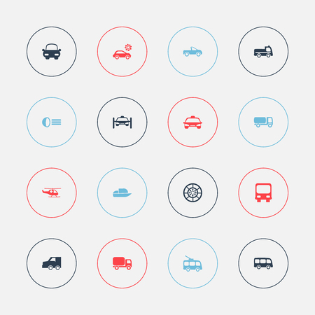 moving truck: Set Of 16 Editable Transport Icons. Includes Symbols Such As Omnibus, Autobus, Tour Bus And More