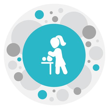 Vector Illustration Of Folks Symbol On Changing Cloth Infant Icon Banco de Imagens - 83281117