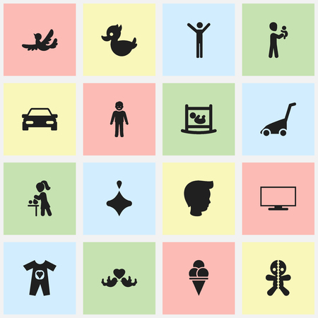 ancestor: Set Of 16 Editable Kin Icons. Includes Symbols Such As Male, Baby Cloth, Automobile And More