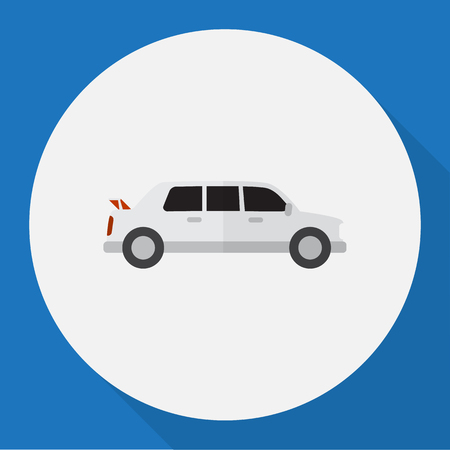 Vector Illustration Of Vehicle Symbol On Limo Flat Icon Illustration