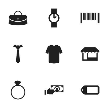 Zestaw 9 edytowalnych ikon handlu. Obejmuje symbole takie jak etykieta, Reticule, O Clock i więcej Ilustracje wektorowe