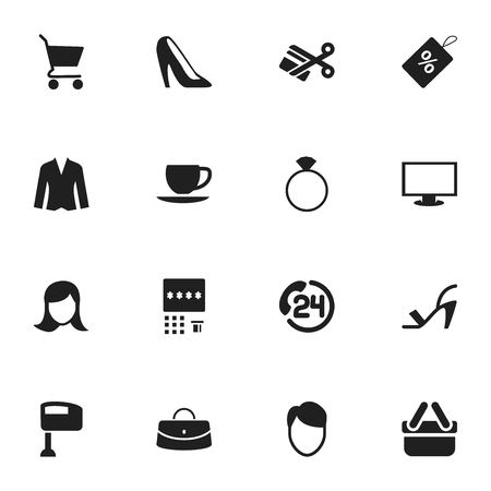 Set Of 16 Editable Shopping Icons. Includes Symbols Such As Stir, Jewelry, Cardigan And More  イラスト・ベクター素材