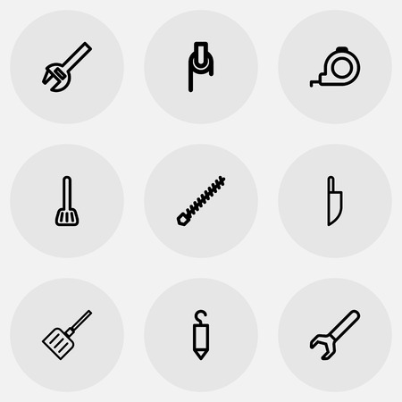 size distribution: Set Of 9 Editable Instrument Outline Icons. Includes Symbols Such As Knife, Snow Trowel, Rotating Bit And More Illustration