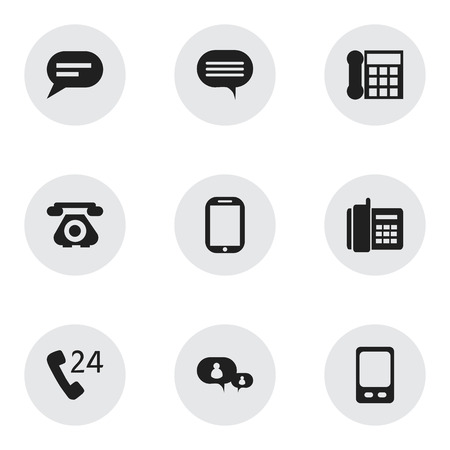 hotline: Set Of 9 Editable Gadget Icons. Includes Symbols Such As Mobile, Comment, Retro Telecommunication And More Illustration