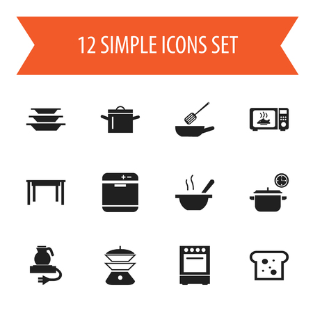 Set Of 12 Editable Cooking Icons. Includes Symbols Such As Bowl, Electric Kettle, Multicooker And More Illustration