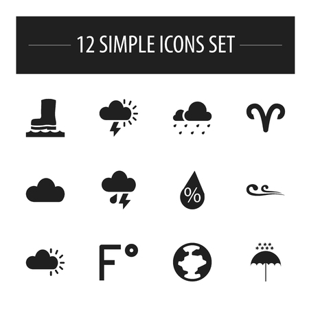 Set Of 12 Editable Air Icons. Includes Symbols Such As Fahrenheit, Breeze, Hail And More Illustration
