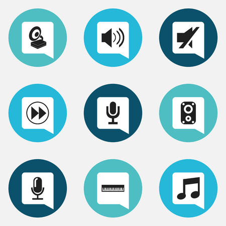 silent: Set Of 9 Editable Media Icons. Includes Symbols Such As Mute, Rewind, Media Interview And More