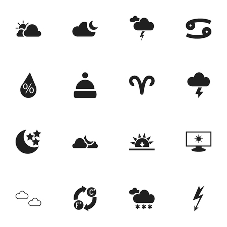 Set Of 16 Editable Weather Icons. Includes Symbols Such As Moonlight, Crab, Interest And More Illustration
