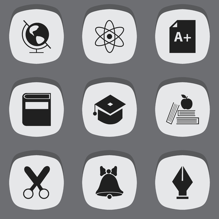 nib: Set Of 9 Editable Knowledge Icons. Includes Symbols Such As Molecule, Literature, Nib And More