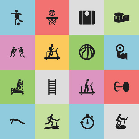 Set Of 16 Editable Lifestyle Icons. Includes Symbols Such As Physical Education, Executing Running, Instruction Male And More Çizim