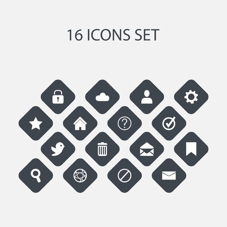 Set Of 16 Editable Web Icons. Includes Symbols Such As Approved, Deny, Network And More