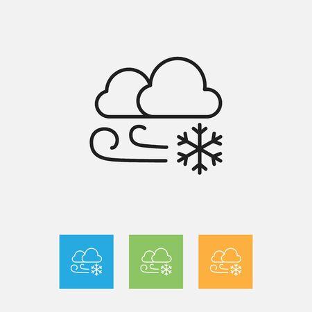 Vector Illustration Of Weather Symbol On Winter Outline