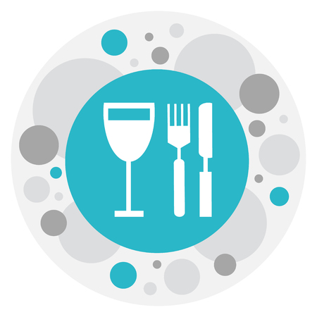 Vector Illustration Of Restaurant Symbol On Glass With Silverware Icon