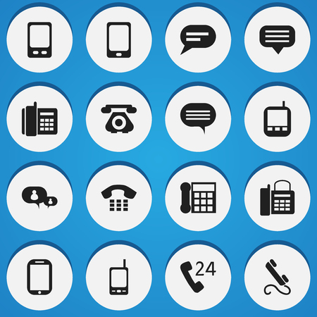 gps device: Set Of 16 Editable Phone Icons. Includes Symbols Such As Tablet, Smartphone, Chatting And More