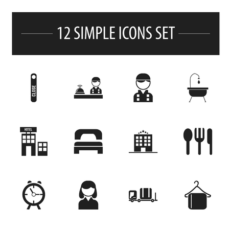 profile measurement: Set Of 12 Editable Hotel Icons. Includes Symbols Such As Sleeping, Employee, Luggage And More Illustration