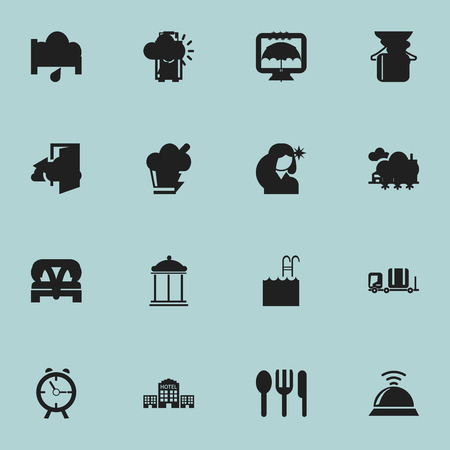 plaza: Set Of 16 Editable Hotel Icons. Includes Symbols Such As Sleeping, Wireless Tv, Outlet And More